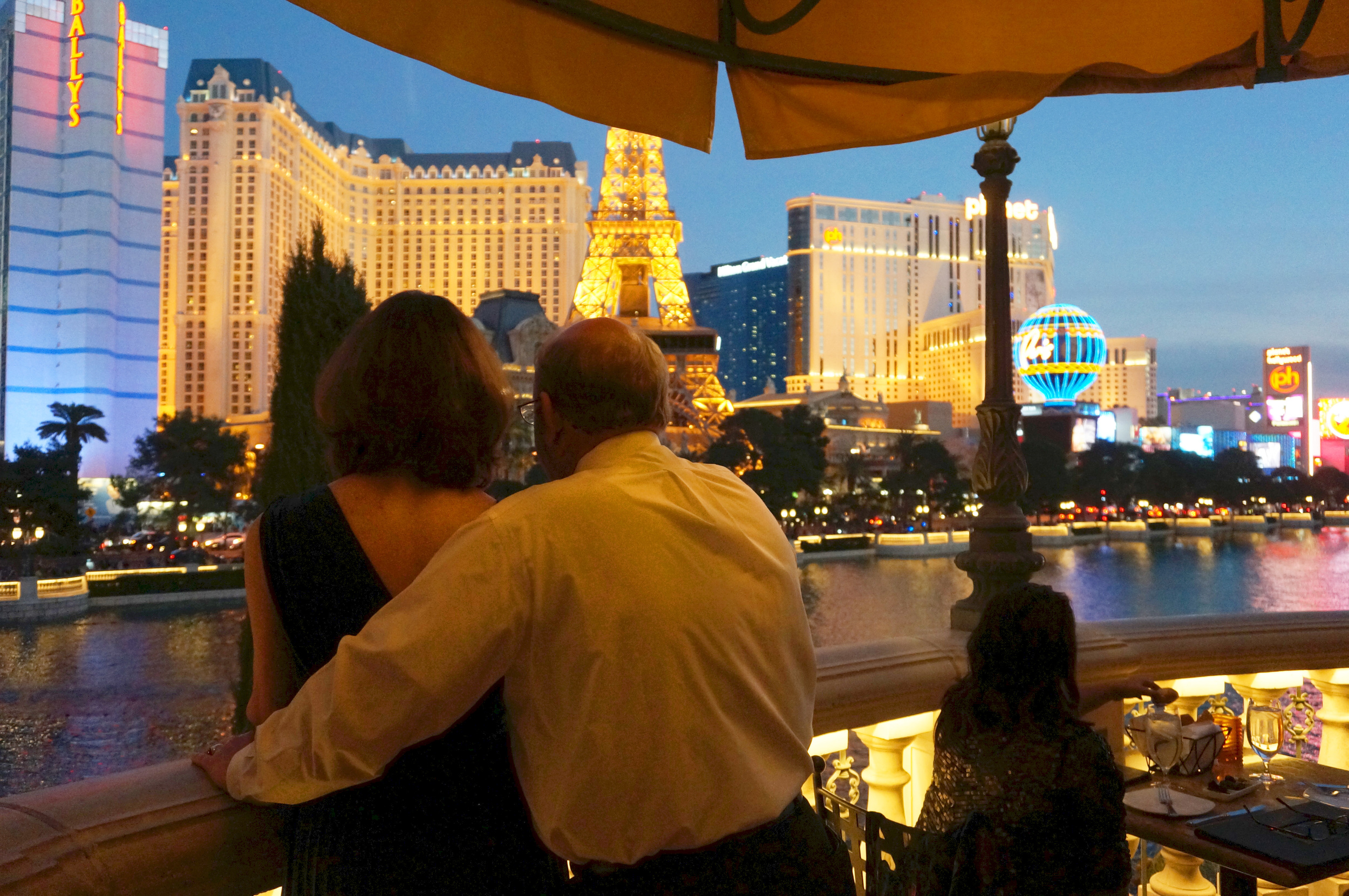 Caught a tender moment between my parents as they watched the Bellagio fountains during dinner.