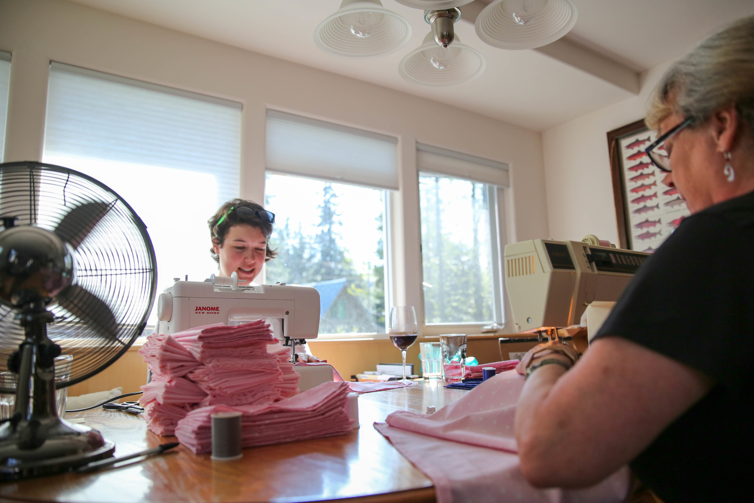 Just another sewing party. Beth and Marilyn come to Girdwood to help. :)
