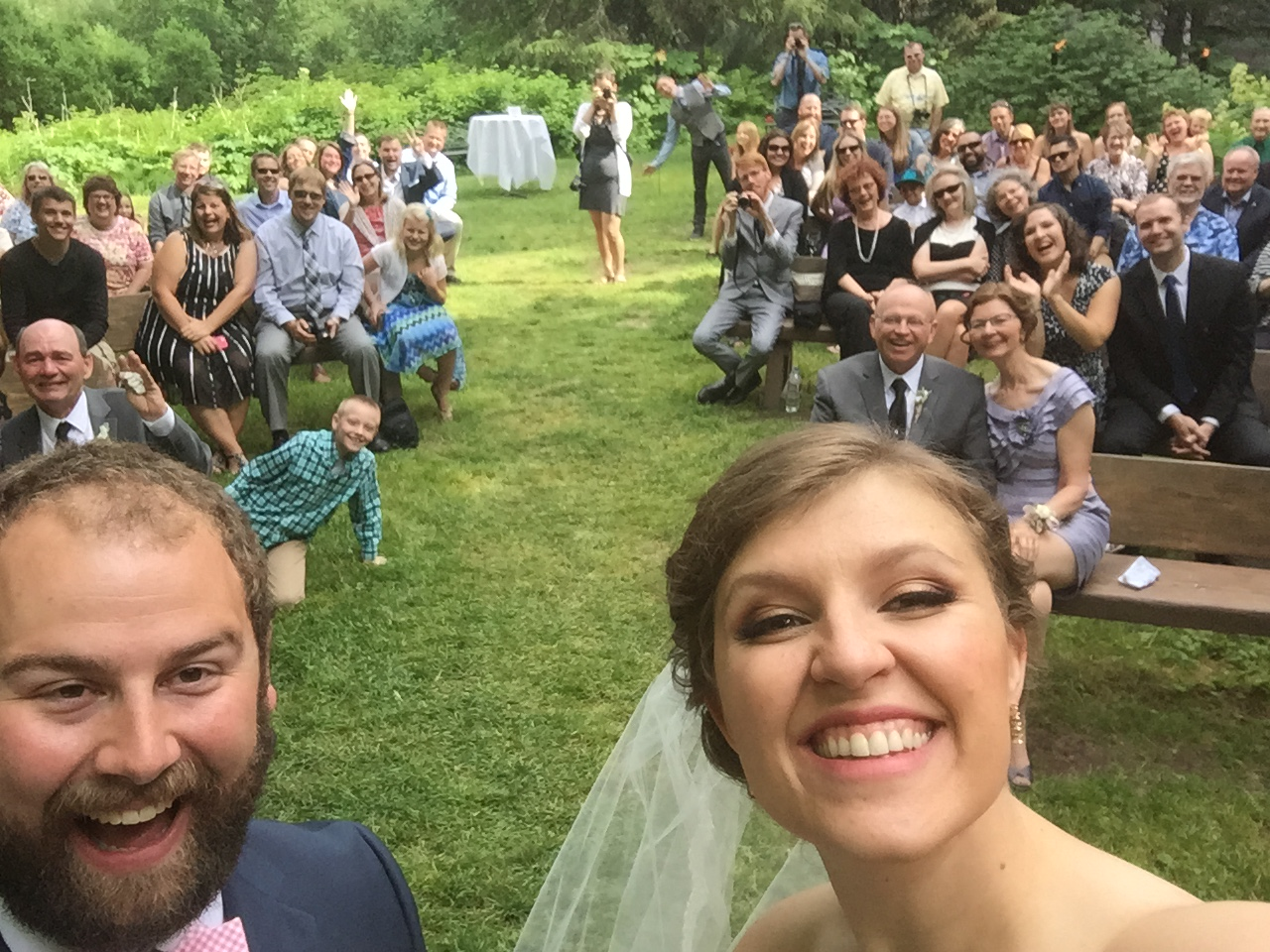You can do whatever you want for your ceremony-- even take time to take a selfie at the altar! Tony and I set out to have a unique wedding, and I'm so glad we did!