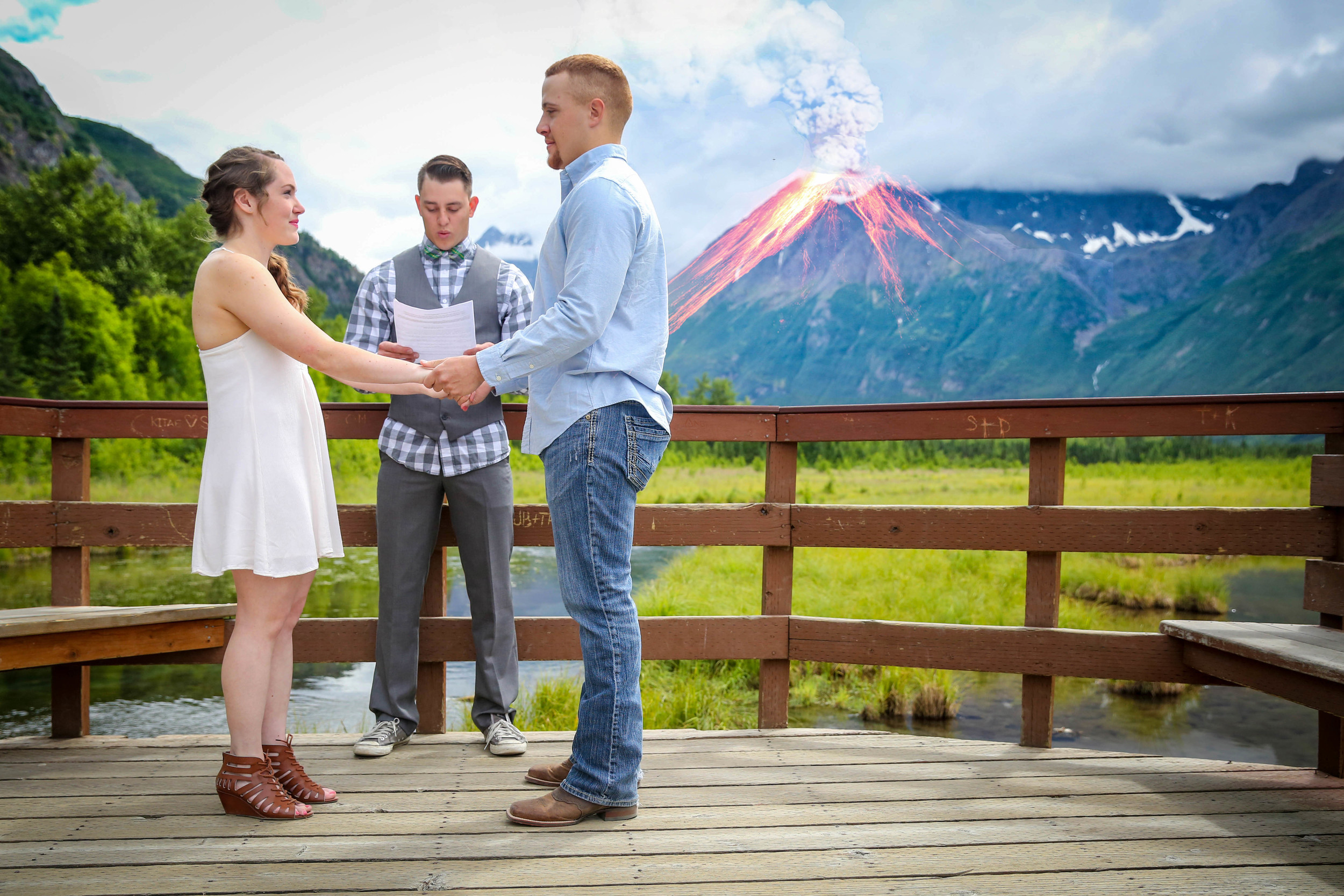 Wade said he wished they'd gotten married in front of an erupting volcano. And sometimes when you're finally going a little looney from editing, photoshopping Alaska's mountains seems like the perfect way to spend your time. This idea and photo definitely sums up how fun this couple is!