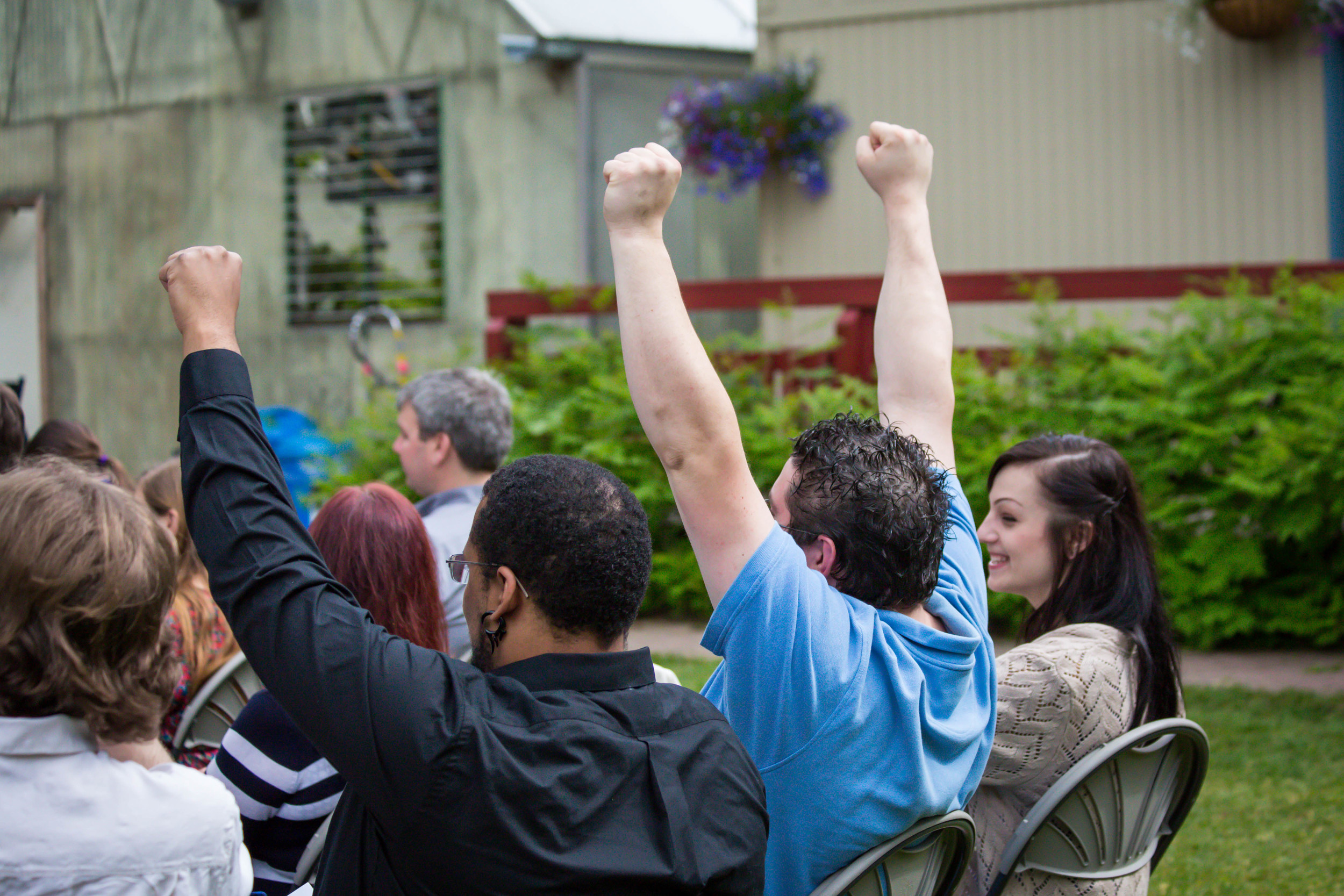 It's a good sign when your wedding guests are this excited about your union!