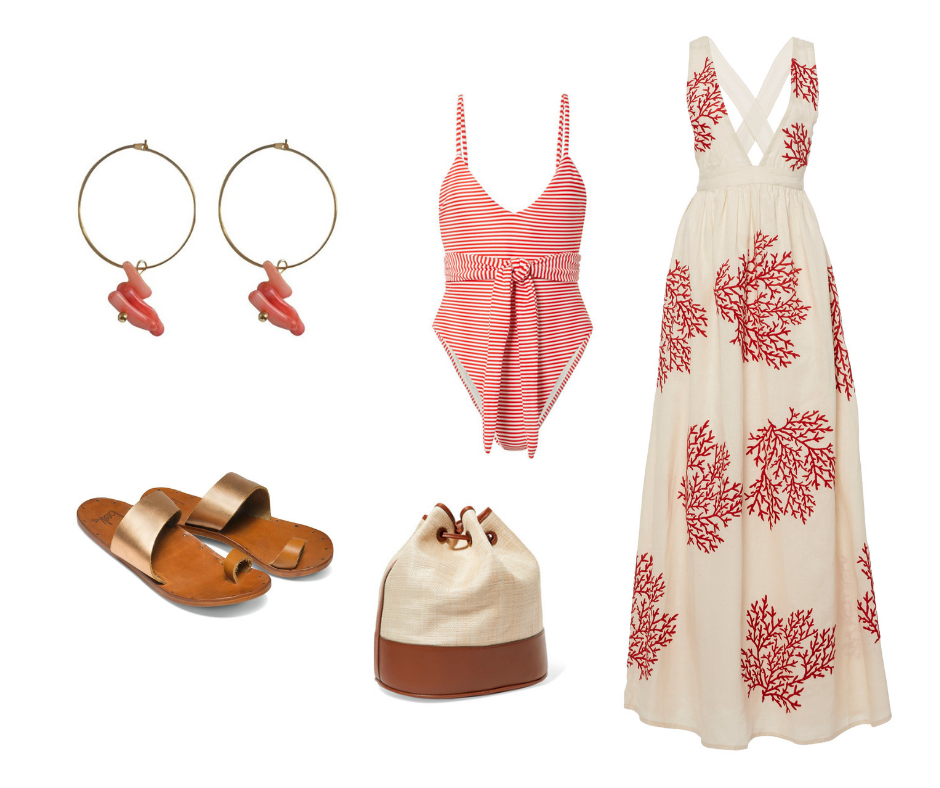 Boheme Style Nomads Coral Earrings paired with some of our favourite designers: Agua by Agua Bendita, Beek Sandals and Hunting Season bags