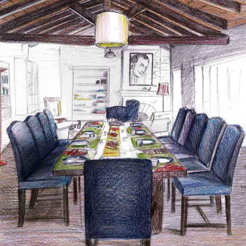 Like a large family, everyone staying at the Terraces gathers at the generously sized living room with its unique oak and pine wood table to partake of most meals… order up a banquet, have a candle lit dinner in one corner, a casual brunch or a salad and pasta lunch...