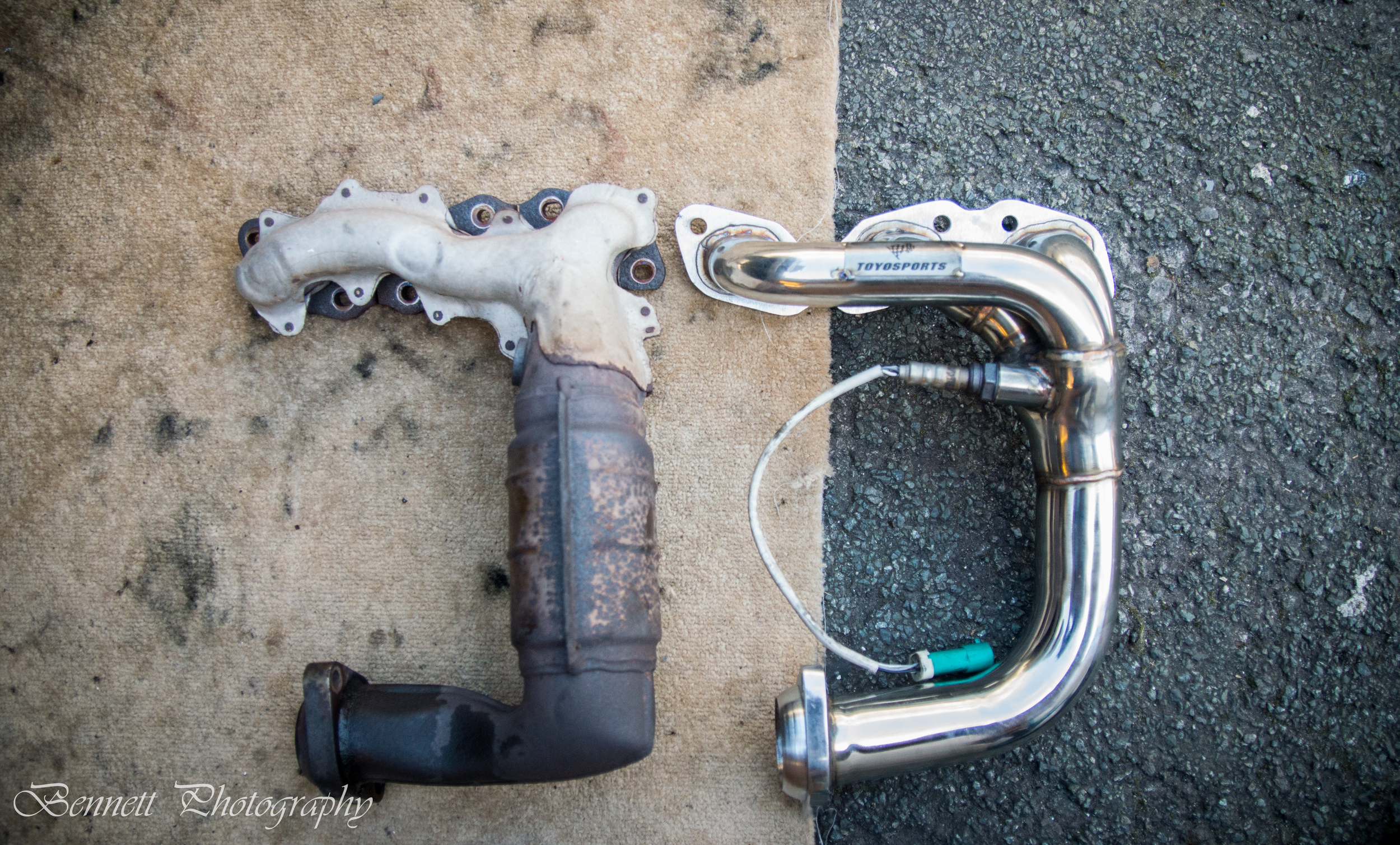 Comparison between the Standard manifold and pre cat, against the free flowing Toyosports 3 branch header