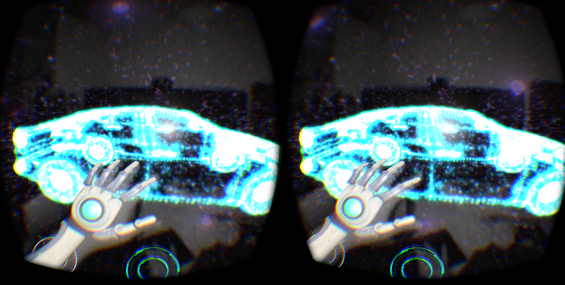 Oculus Rift and mounted Leap Motion, with infrared image passthrough enabled
