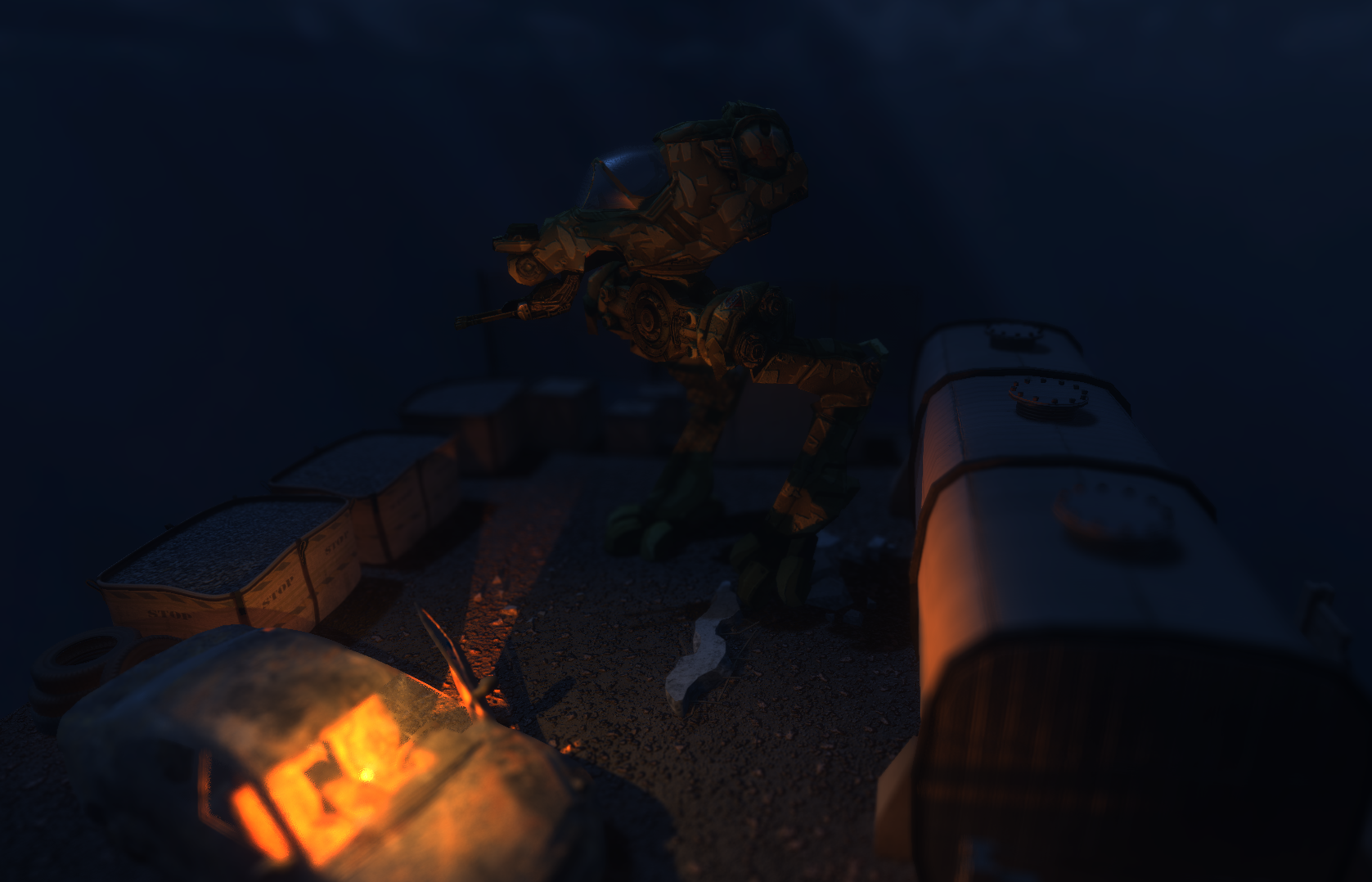 Unity 5 WebGL Walker Diorama in Editor. Note: Image effects are not yet available in WebGL.