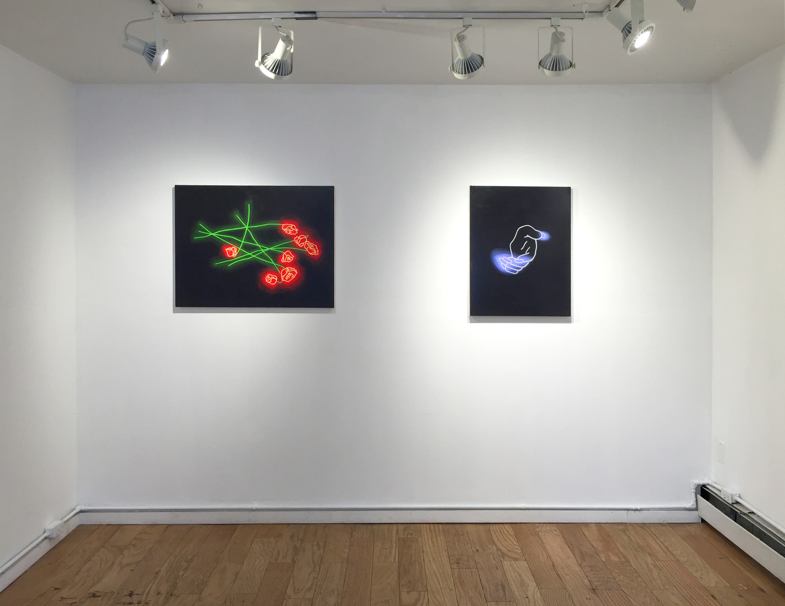 ABRACADABRA   Elijah Wheat Showroom, Brooklyn, NY April 22 – May 15, 2016  Left to right, Aliza Morell:  The Minor Fall , 2016;  Secret Chord , 2016.