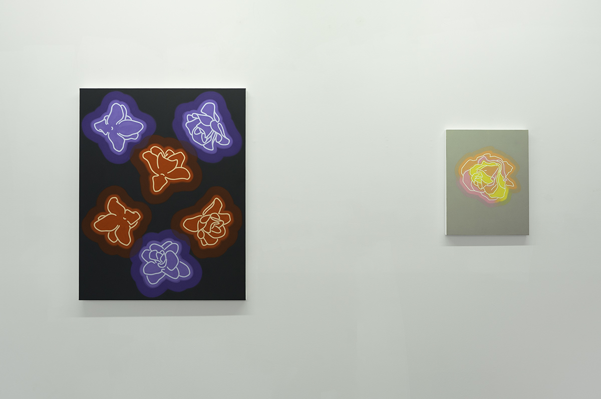 EVERYTHING HAS CHANGED  Camayuhs, Atlanta, GA Curated Jamie Steele May 11 – June 15, 2019  Aliza Morell, left to right:  Blood Moon , 2019;  Your Silent Face , 2019