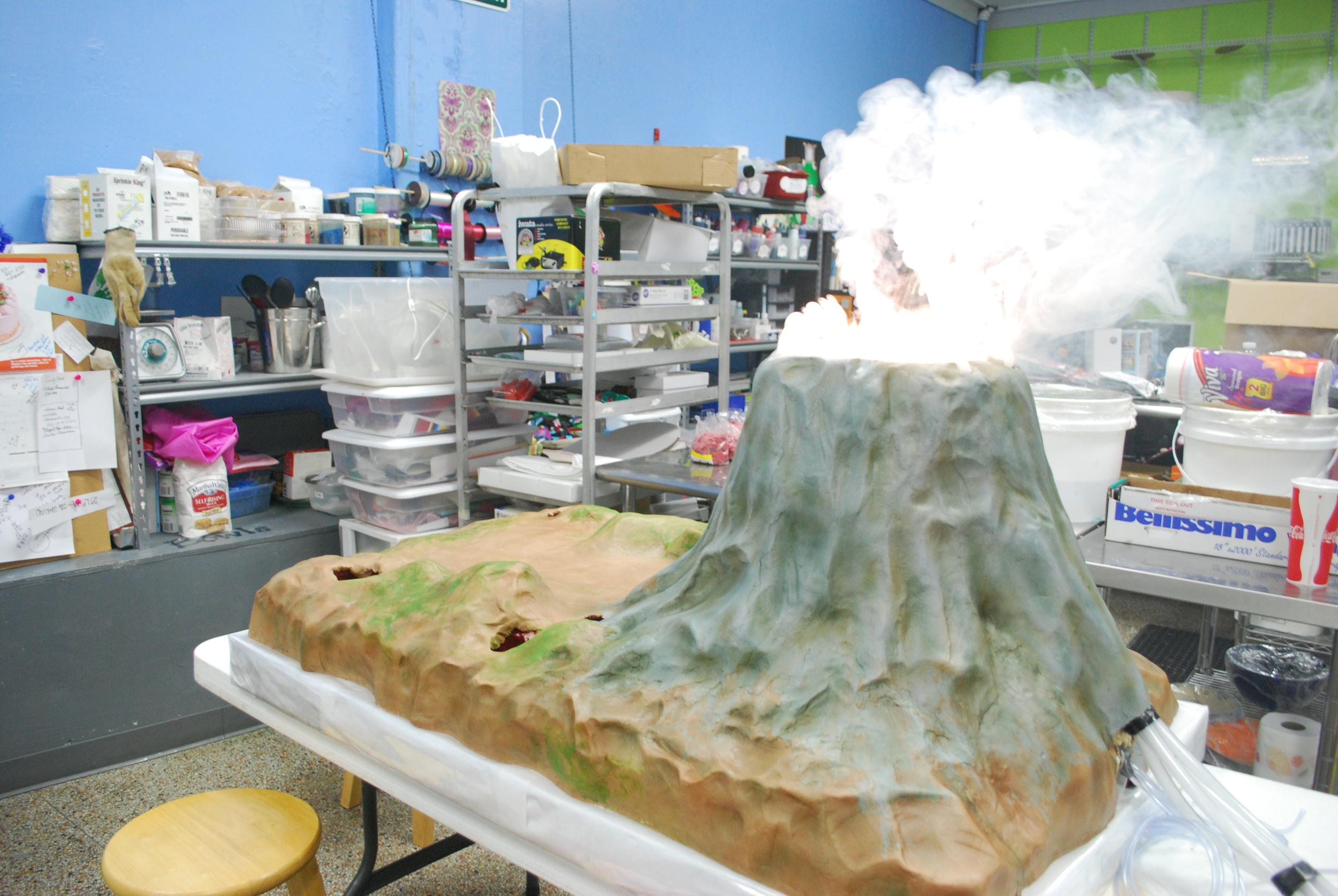King's Island Dinosaurs Alive volcano cake in progress