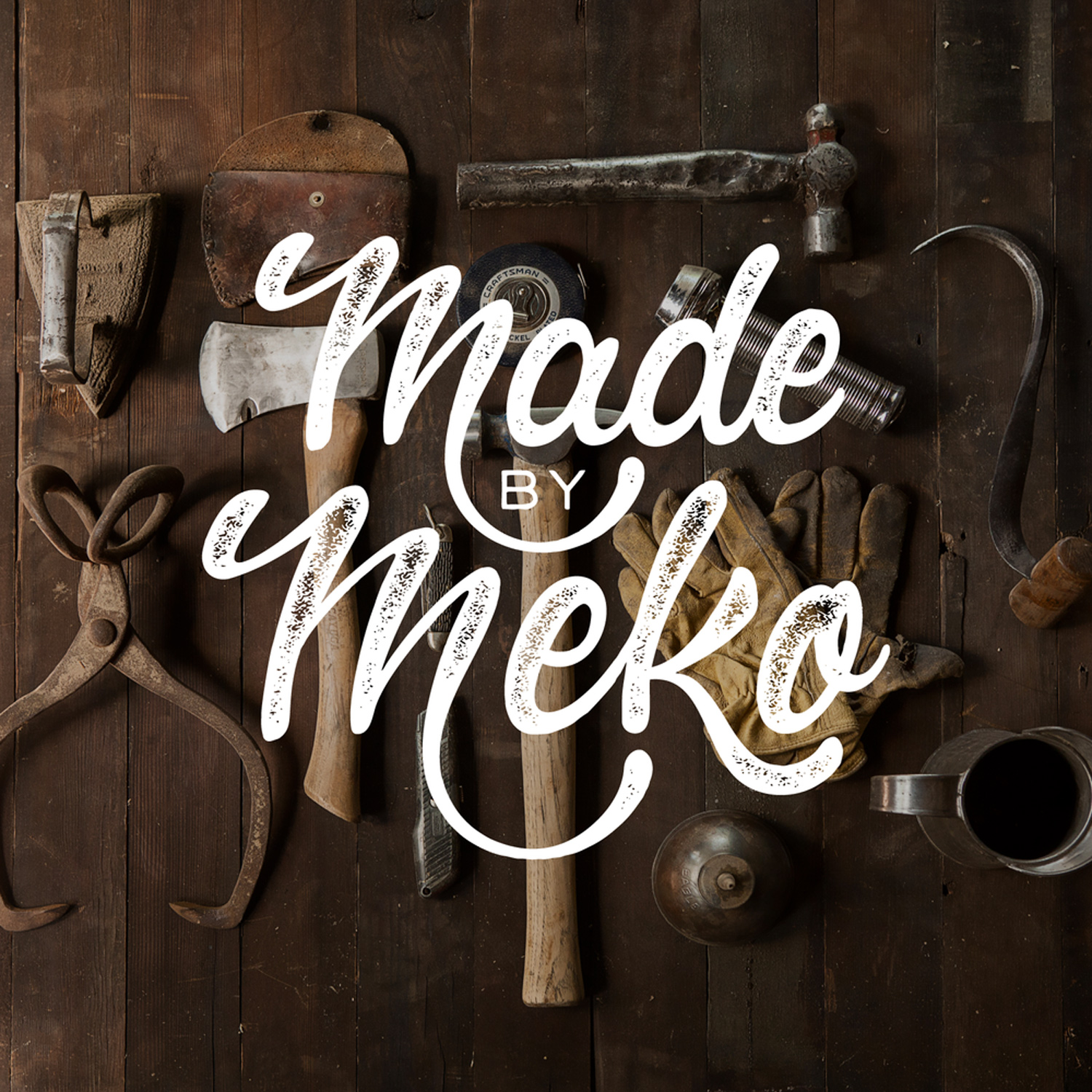 """Logo for furniture refurbisher and antique store, """"Made by Meko"""""""