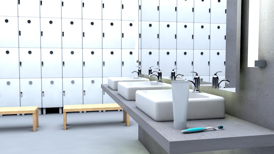 Locker Room Pre-production 3D Render I created the 3D render of the locker room