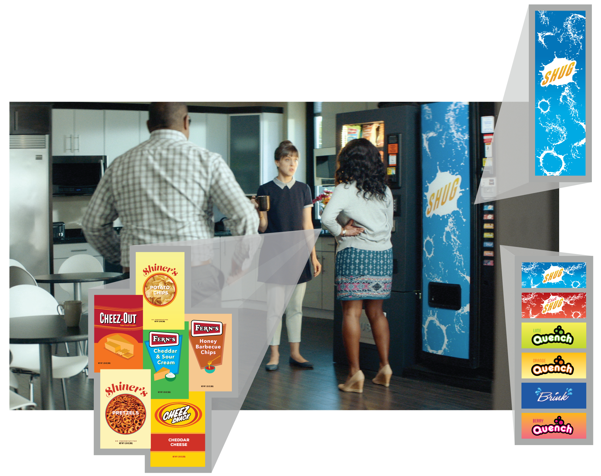 I created and adapted the graphics for the vending machine foods shown here.