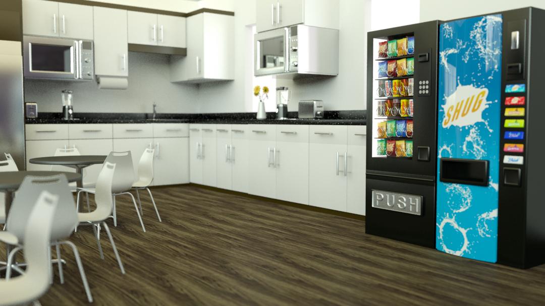 Pre-Production Design 3D Render I created a 3D render of the break room