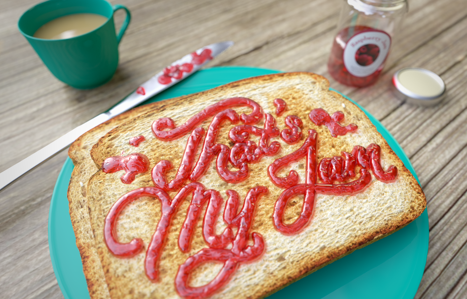 Thats-My-Jam-Noah Camp-3D-lettering-Food-typography