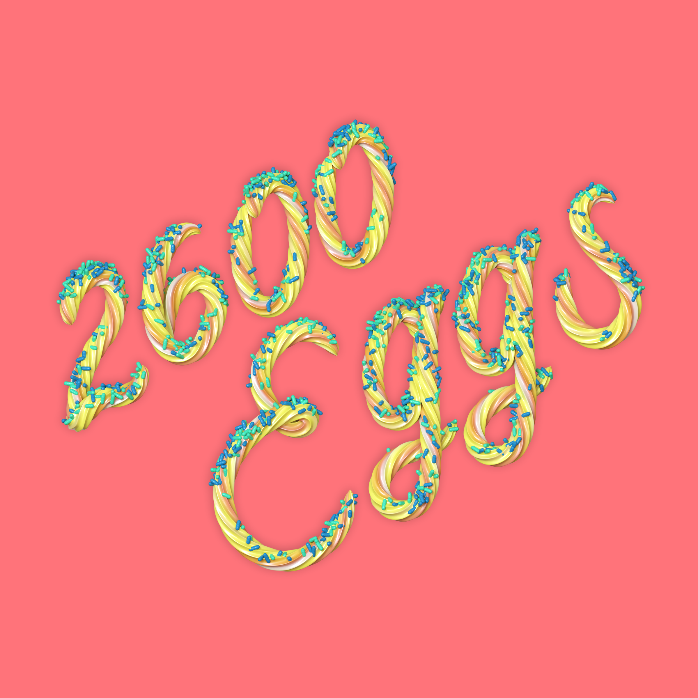 2600 Eggs 3D type lettering made of icing by Noah Camp