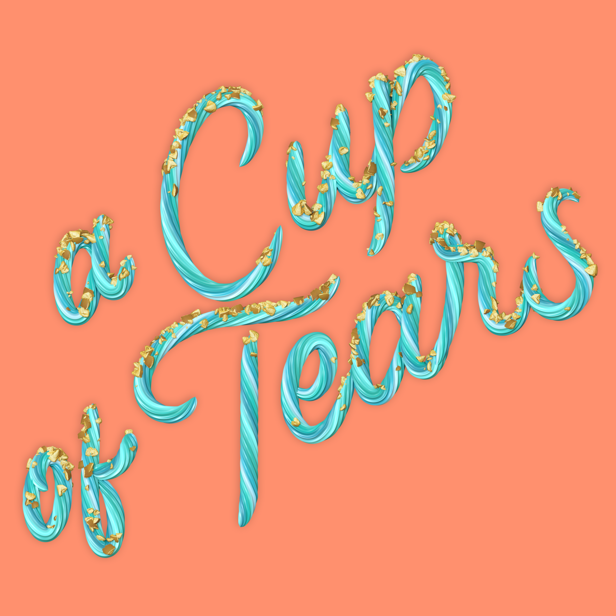"""""""A Cup of Tears"""" 3D type lettering made of cake frosting by Noah Camp"""