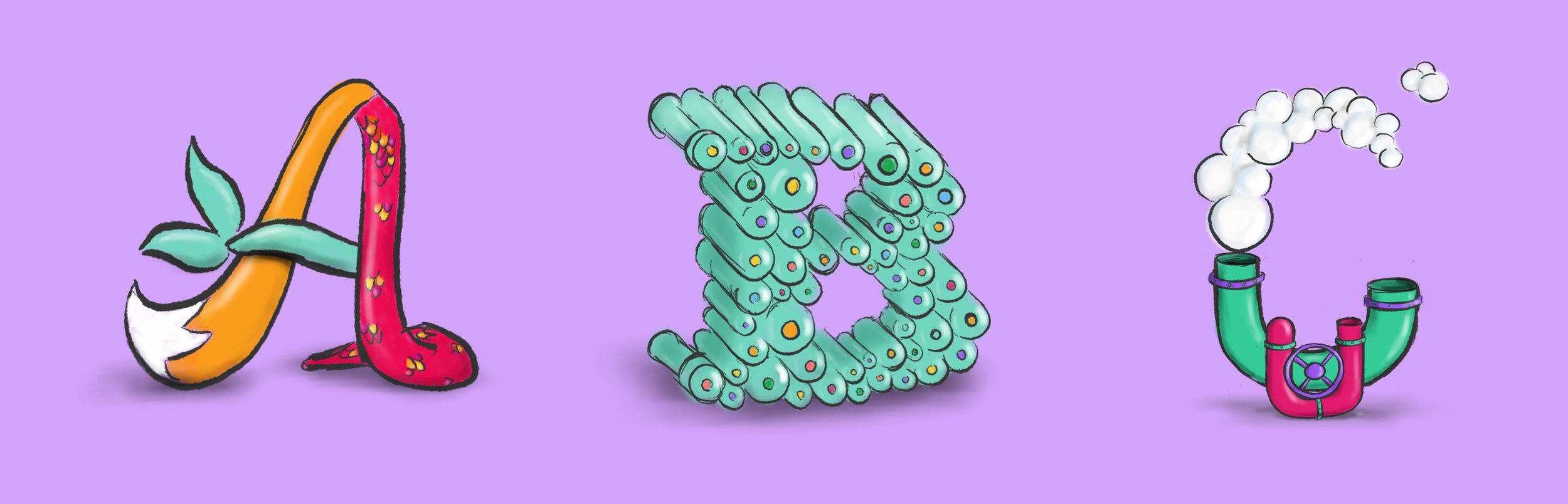 Sketch concepts of alphabet by Noah Camp