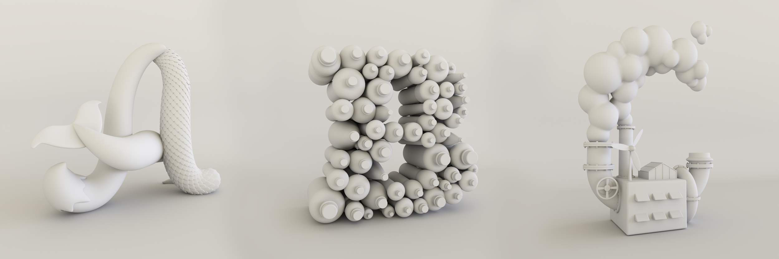 Method Home 3D type clay models by Noah Camp