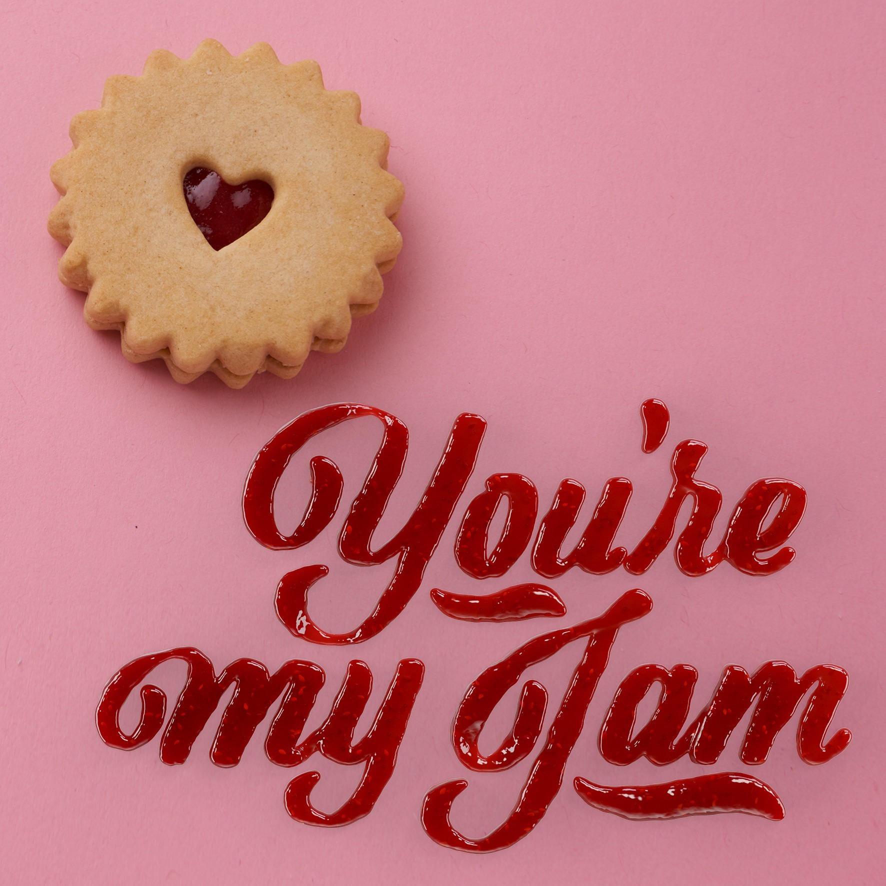 "3D Photorealistic Strawberry Jam Lettering for Griffins biscuits ""You're My Jam"""