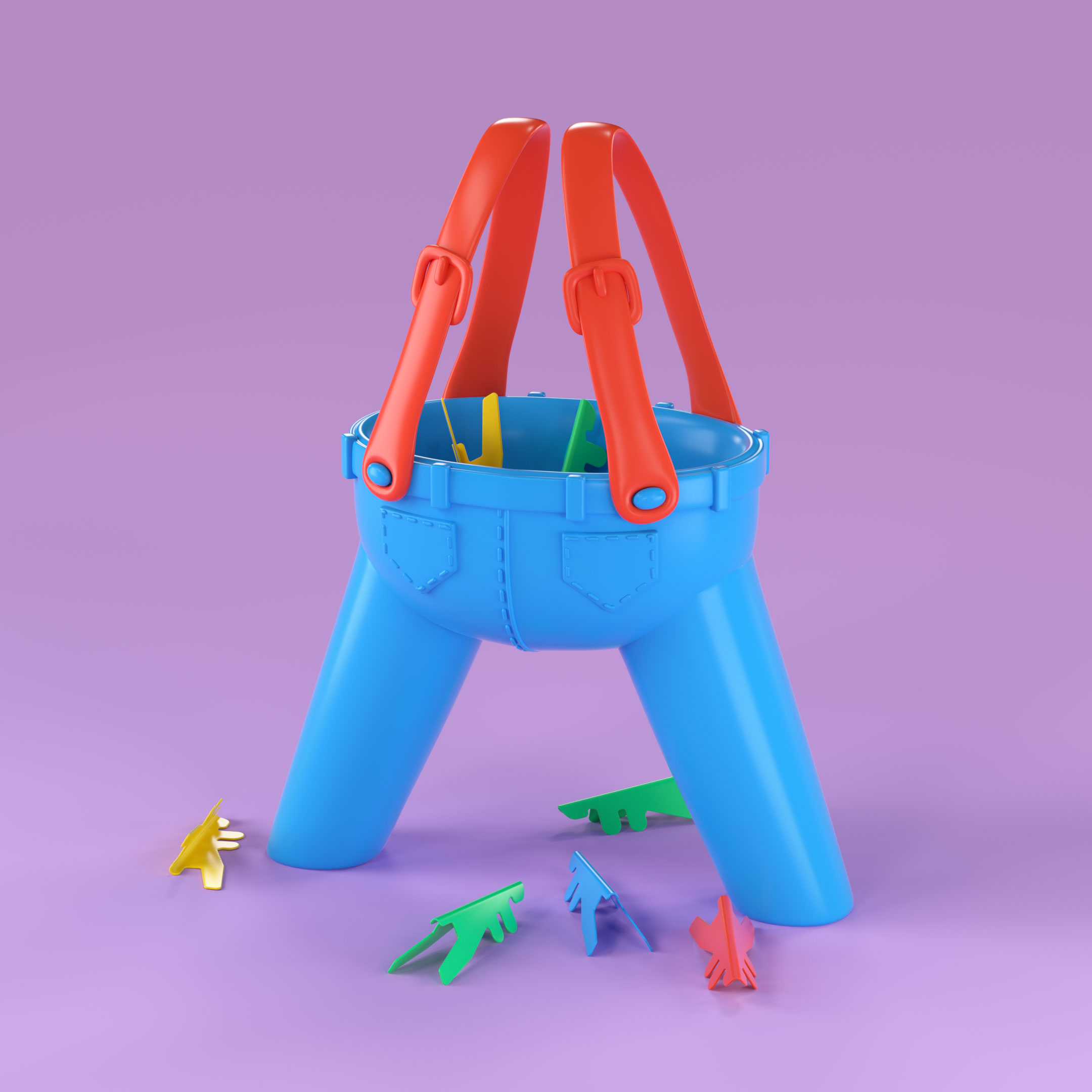 90s Ants in the Pants Game 3D Type Illustration by Noah Camp