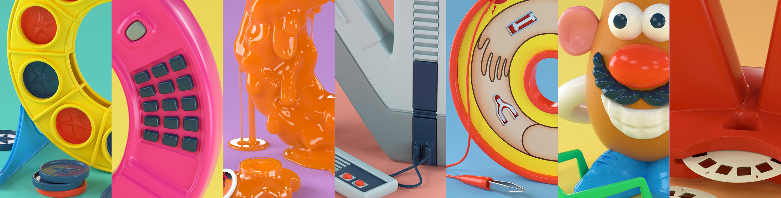 closeup renders of 90s retro 3d type alphabet