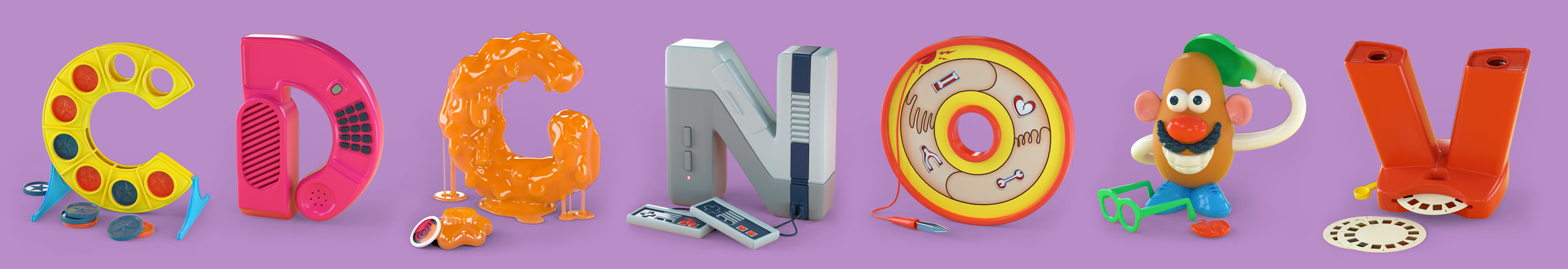 90s TOYpography 3D type nostalgic alphabet by Noah Camp