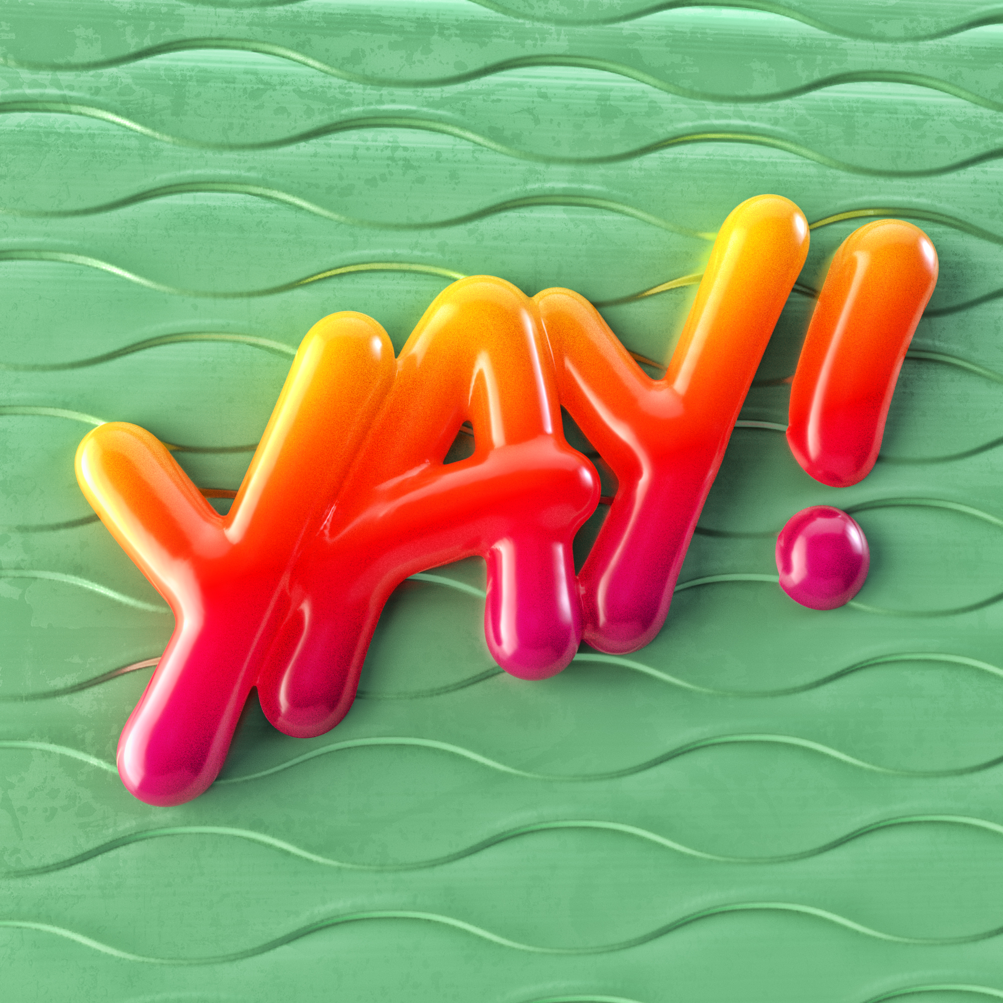 """Yay!"" fun colorful 3D type by Noah Camp"