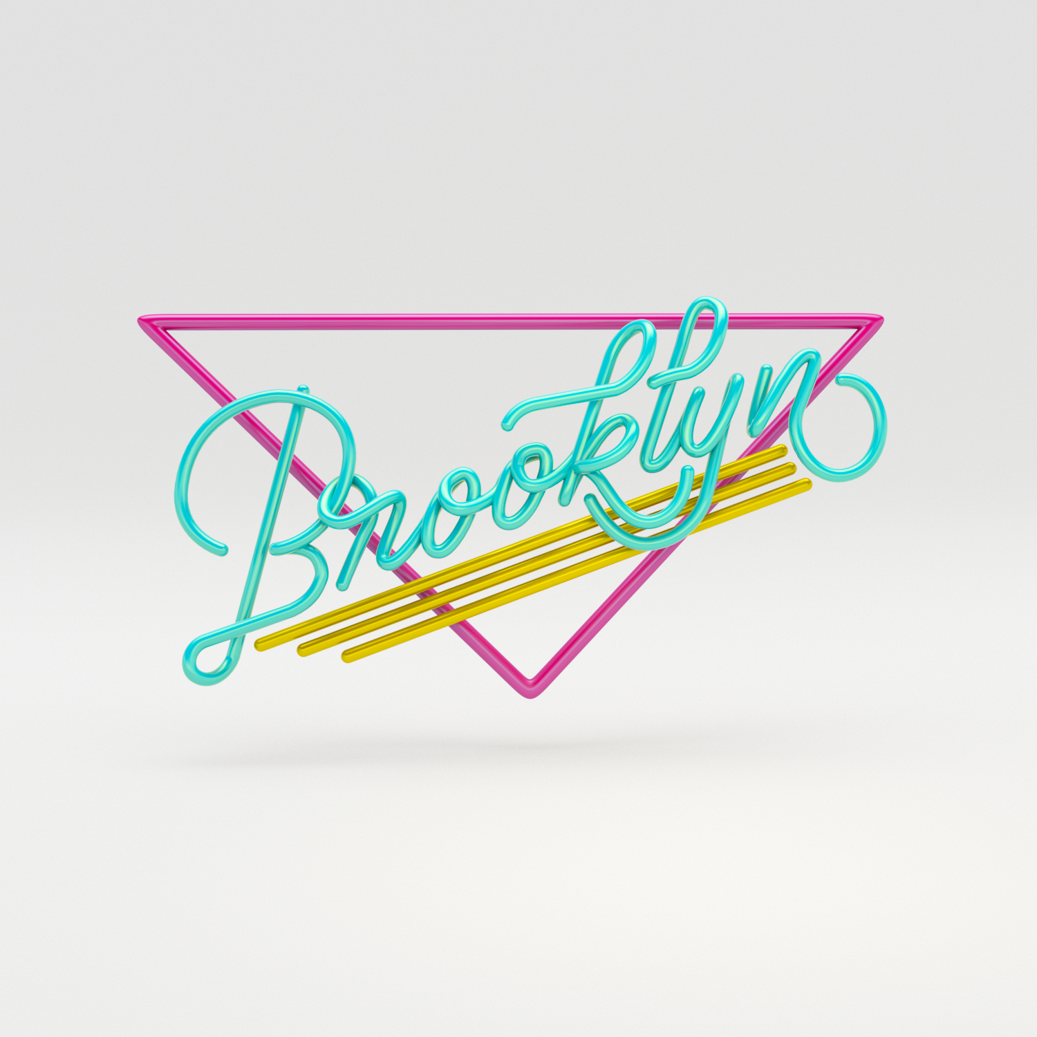 Brooklyn 3D typography diner style by Noah Camp