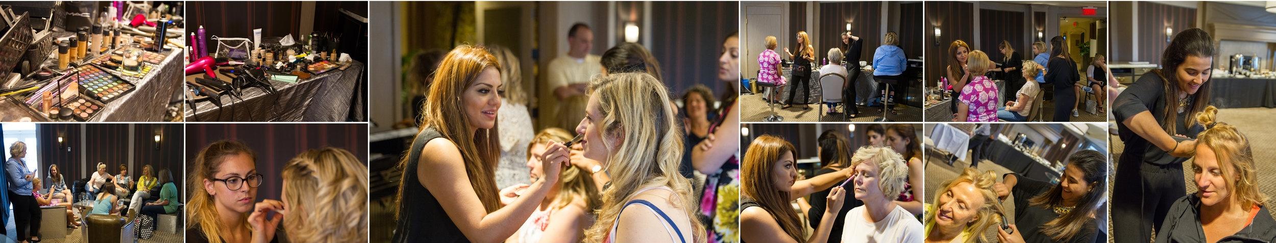Maquillage et coiffure par l'équipe glamour de Loue 1 Robe pour nos 35 charmantes femmes, derniers essayages de robes avant la grande soirée.