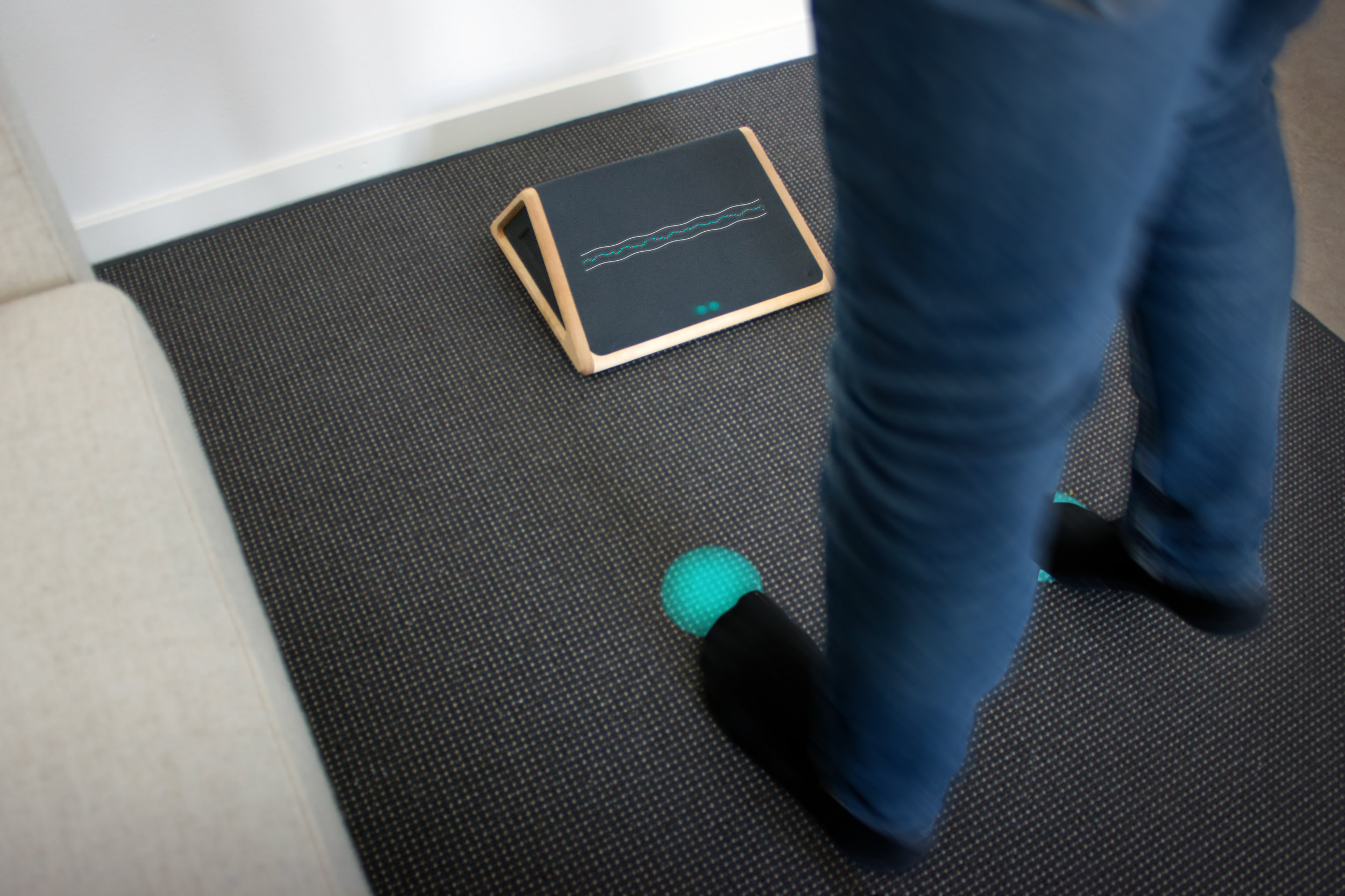 3. Projections from the device assist the feet movements