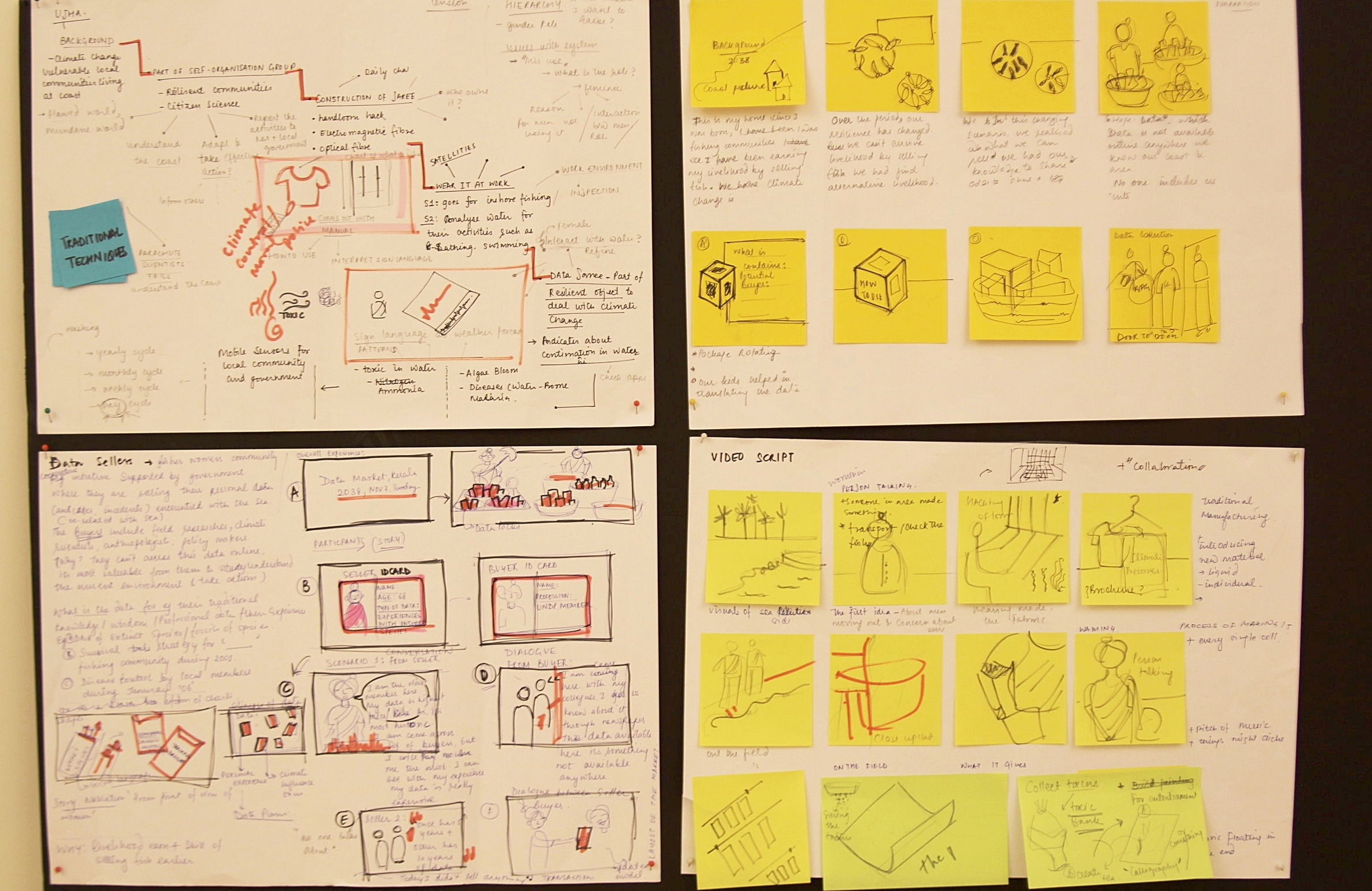Storyboarding - Early storyboard to communicate the story from a perspective of a fishing women character.