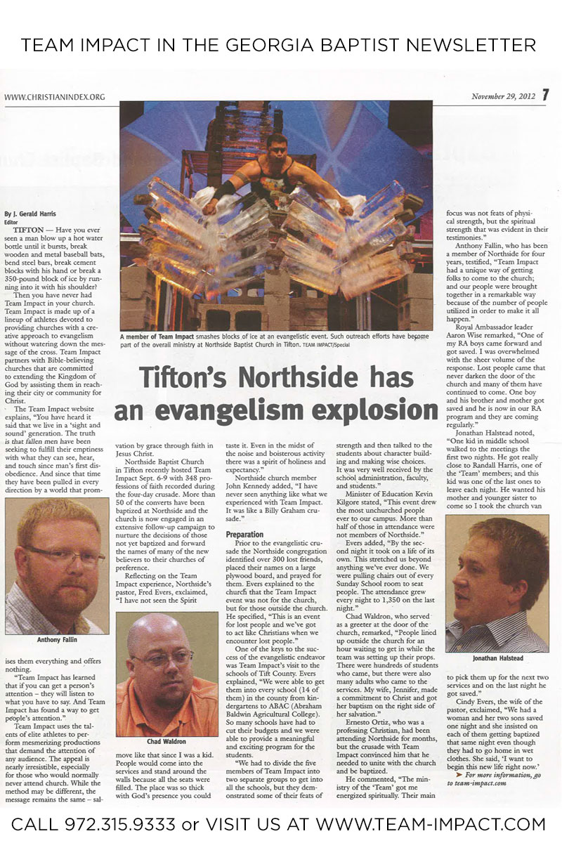 Click to see how Northside Baptist Church in Tifton, GA saw great success with Team Impact