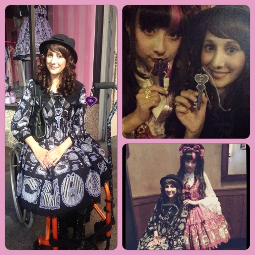 Angelic Pretty Model RinRin Doll and I with the personalized key necklaces I made for her and I, and me in my sweet new Aero T chair from TiLite! I'm wearing the Sweet Girl Room OP by Angelic Pretty; I picked the key as the item from the print, and then I designed the key to my liking. You may also recognize the pendant on my cane from the main page, made by me. :)