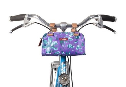 Po Campo Six Corners Handlebar Bag in Purple Petals Coated Poly, image (c) pocampo.com