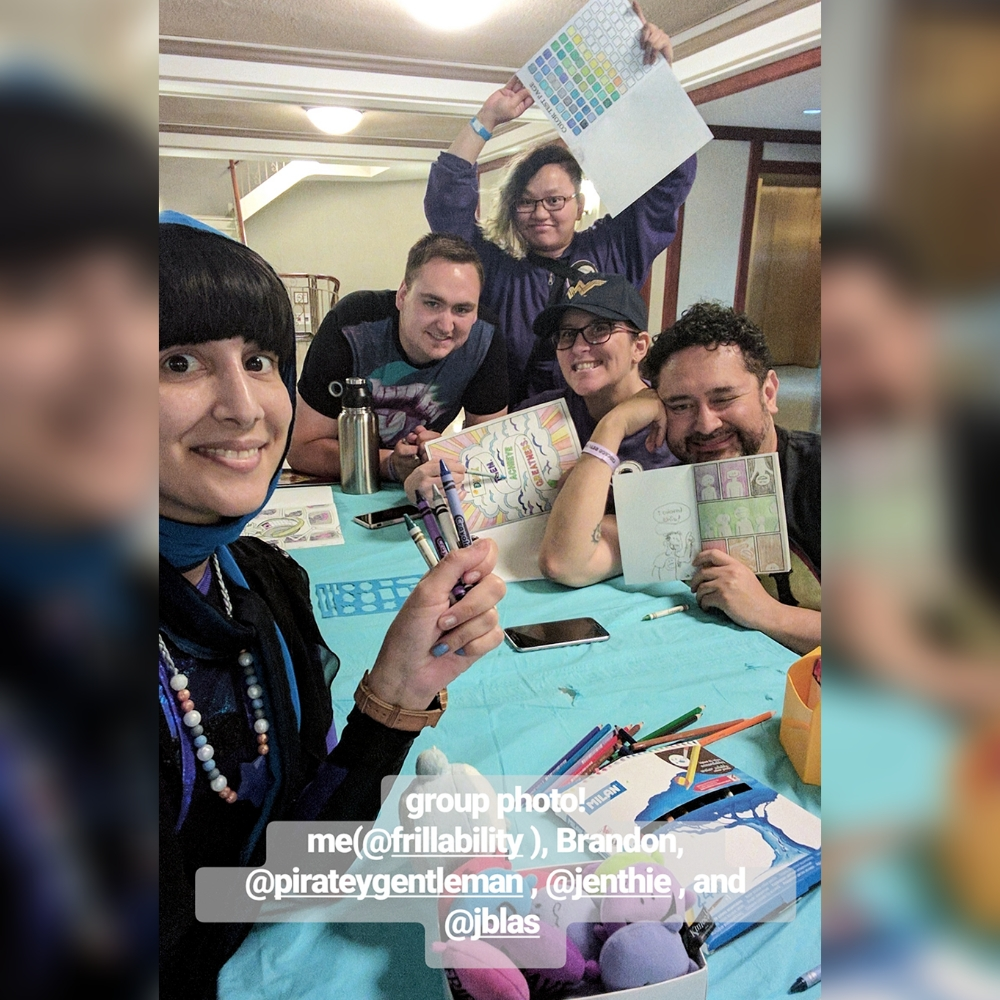 our 1st colouring book meet-up at RETCON in Chicago, '17