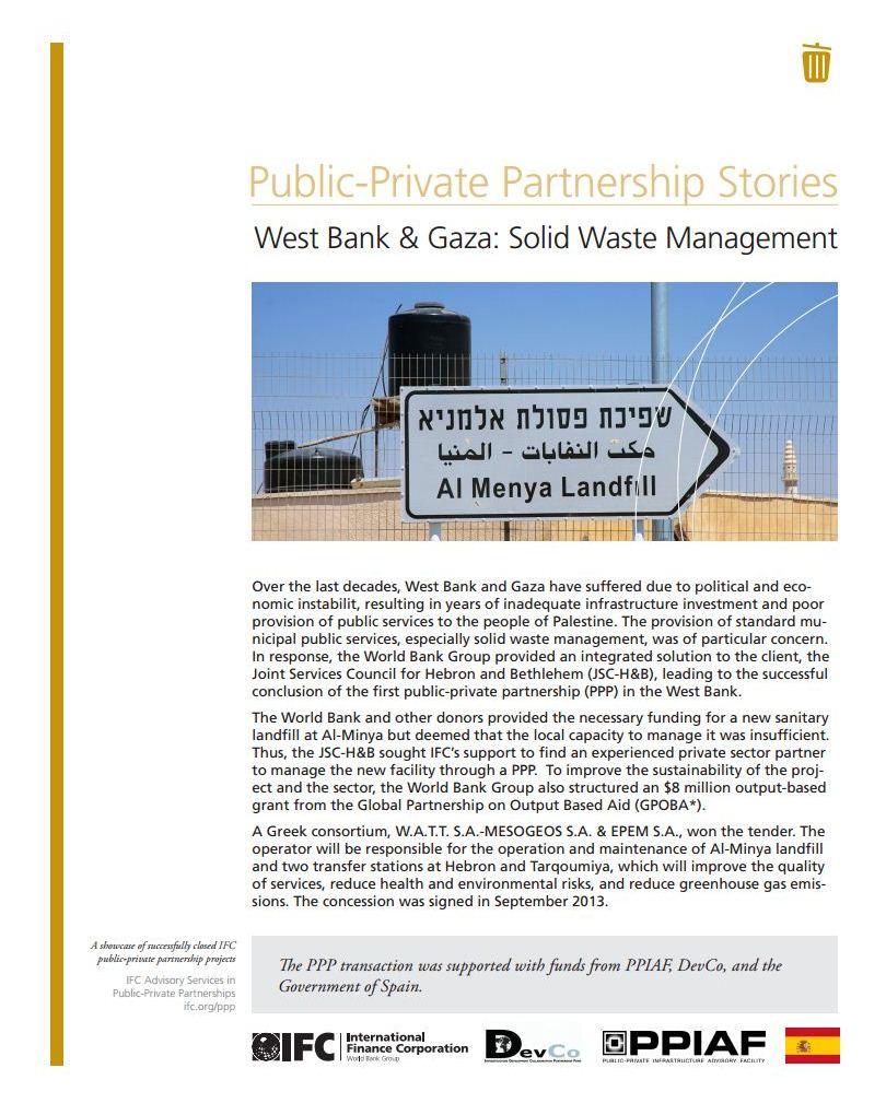 West Bank & Gaza: Solid Waste Management