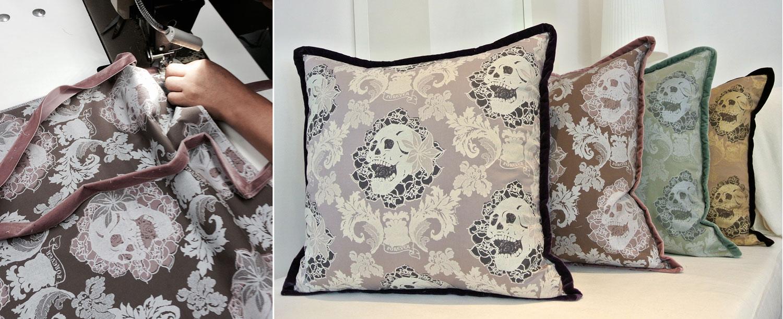 Sewing velvet ribbon trim to Skulls Damask pillows