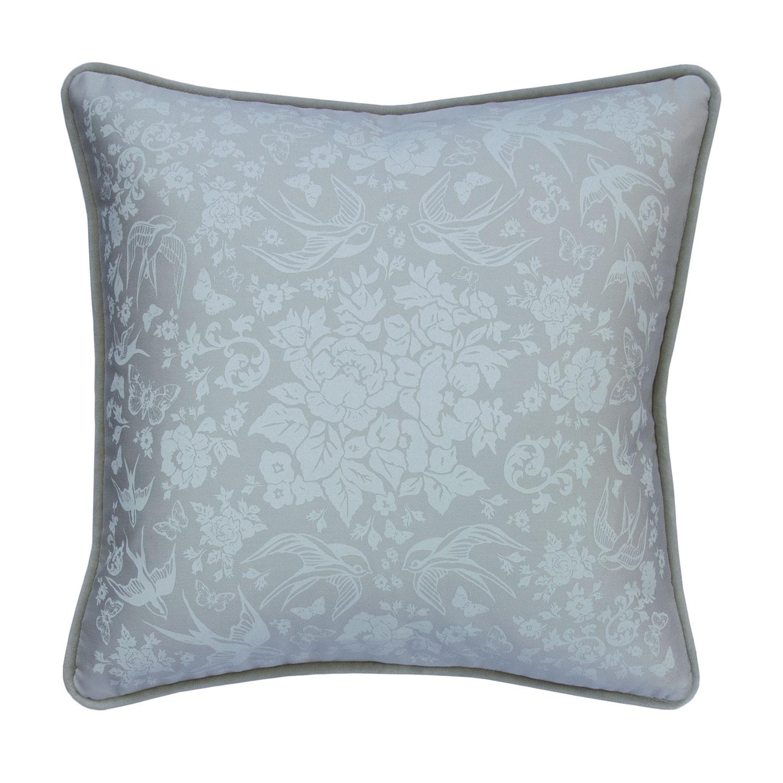 """Swallow Garden 19"""" Pillow, Silver"""