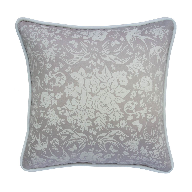 """Swallow Garden 19"""" Pillow, Lilac"""