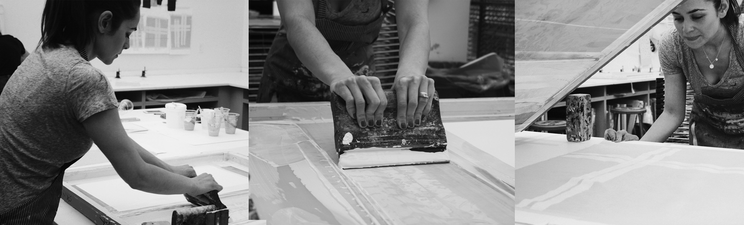 """Screen printing in the studio, color proofing for """"Brushstroke Plaid"""""""