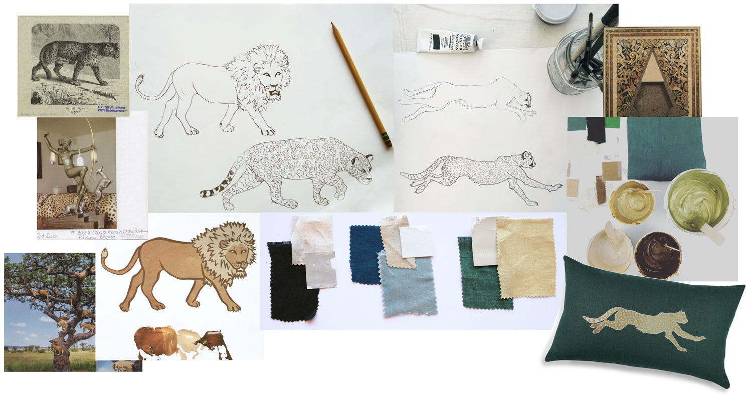 Sketches and color development for Wild Cats collection