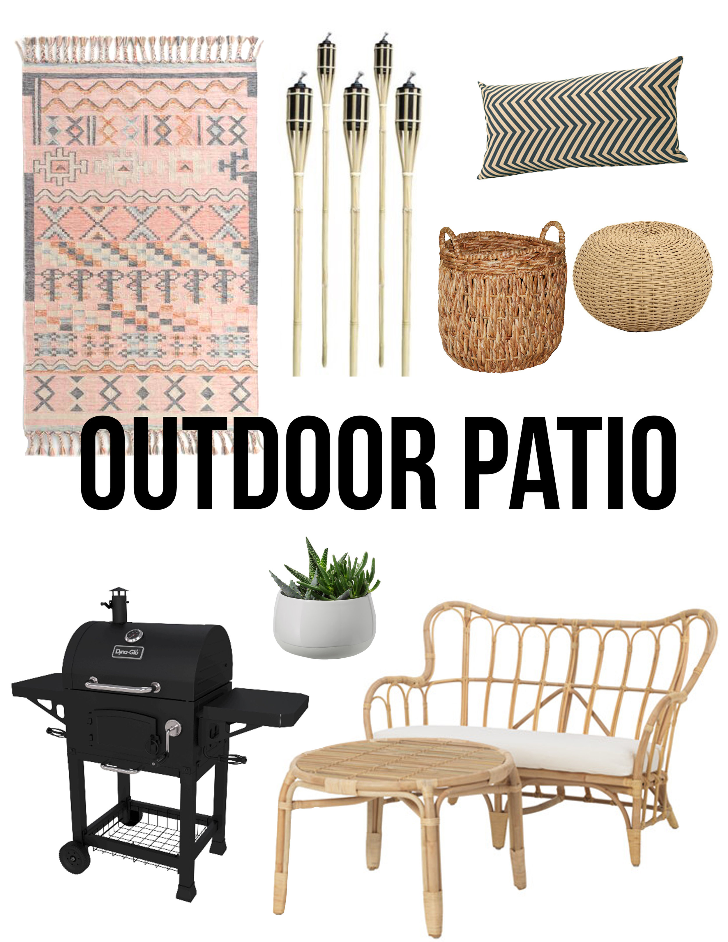 LOWE'S-  Tiki Torches   IKEA- Succulent  •  Love seat and Table  •  Pillow   World Market- Rug   Target-  Wicker Pouf  •  Wicker Basket  •  Grill