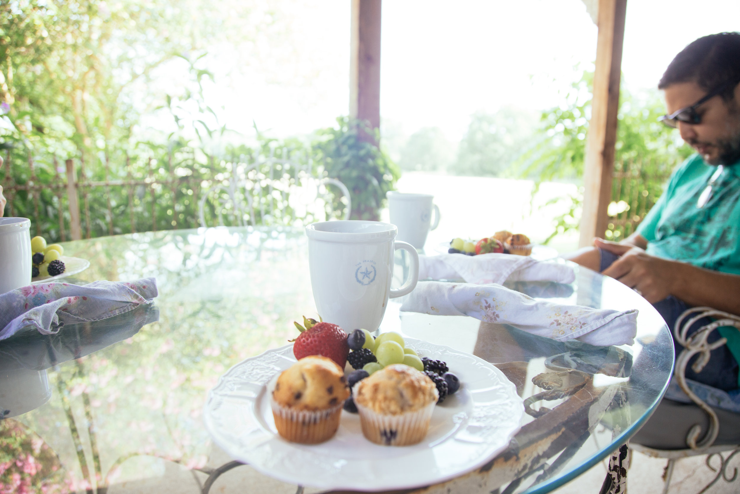 Breakfast and coffee on the porch.