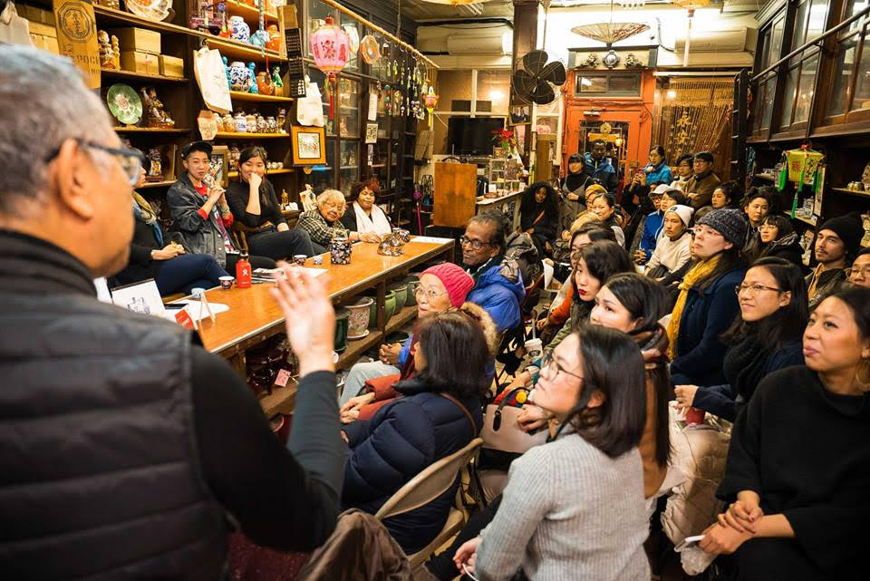 Rocky Chin speaks to the audience of the Sweeping Away Evil Panel on January 25, 2018, featuring panelists Donna Mah, Jes Tom, Melanie Wang, Muriel Miguel, and Fay Bonas and moderated by storefront artist-in-residence Emily Mock. image credit: Eric Jenkins-Sahlin