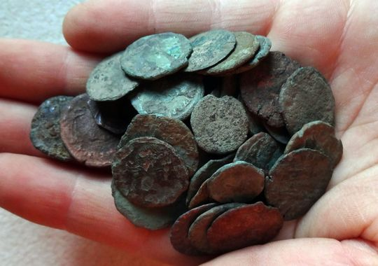 Using a metal detector, Bobby Grangier, 10, found a hoard of Roman and Greek coins, dating to 500 AD, at a shoreline site on the Chesapeake Bay in Accomack County.  (Photo: Staff photo by Brice Stump)