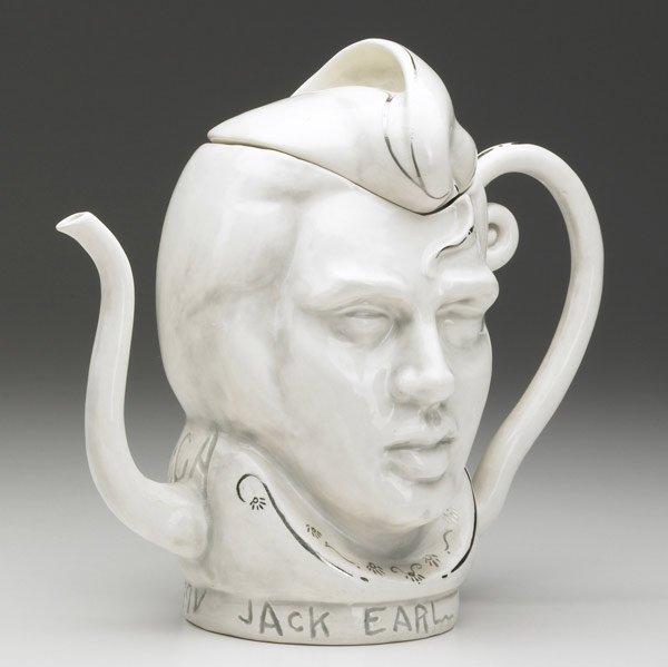 Jack Earl, Elvis Teapot, porcelain, ceramic, figurative, Sherrie Gallerie