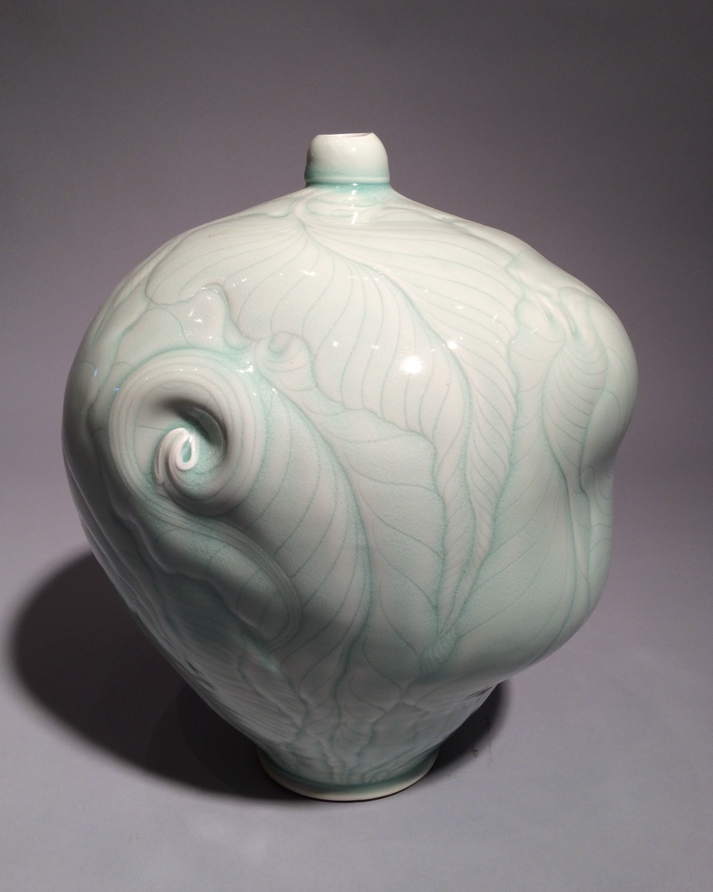 Elaine Coleman, Lizard/Leaf Bottle, porcelain ceramic, celadon glaze, functional, pottery, Sherrie Gallerie