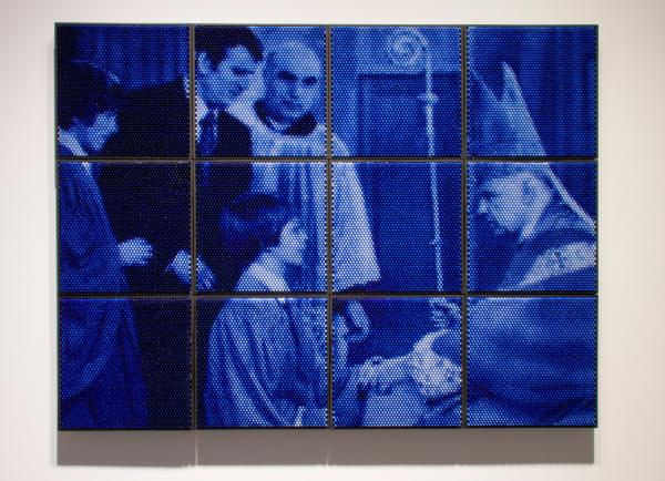 Christian Faur, Godfather, hand cast encaustic crayons, contemporary art, Sherrie Gallerie