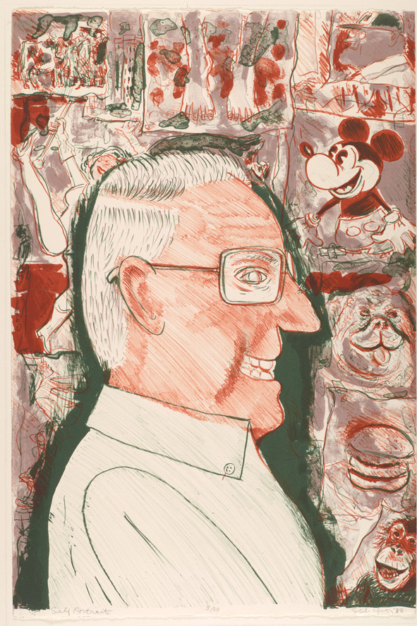 Sid Chafetz, Self Portrait, color lithograph, printmaking, Sherrie Gallerie