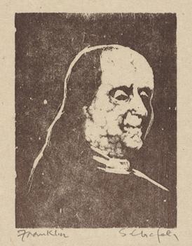 Sid Chafetz, Ben Franklin, woodcut, printmaking, Sherrie Gallerie